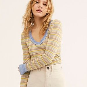 "FREE PEOPLE ""We The Free Moonlight Stripe Tee"" NWT"